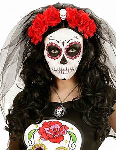 Tete De Mort Fleur : coiffe fleurs rouges avec t te de mort femme dia de los muertos deguise toi achat de accessoires ~ Mglfilm.com Idées de Décoration