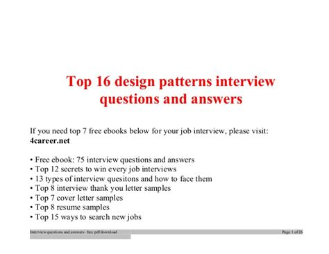 top design patterns interview questions  answers job