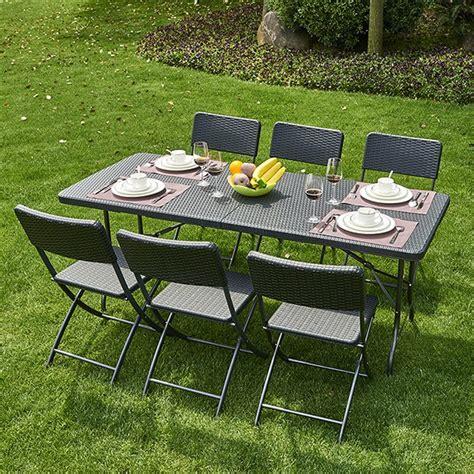 les meilleurs jeux de cuisine table pliante pvc tressé 6 chaises coloris noir
