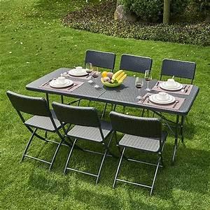 Table De Jardin Tressé : table pliante pvc tress 6 chaises coloris noir trigano store ~ Teatrodelosmanantiales.com Idées de Décoration