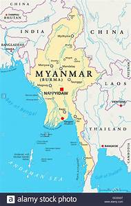 Myanmar Political Map With Capital Naypyidaw  National