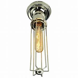 Ceiling light fitting flush : Flush fitting nickel ceiling light with cage shade and