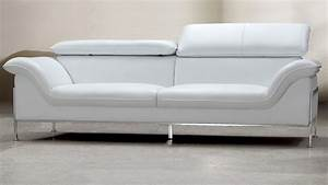 canape 2 ou 3 places mobilier cuir With canapé en cuir blanc design