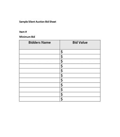 silent auction bid sheet template 40 silent auction bid sheet templates word excel template lab