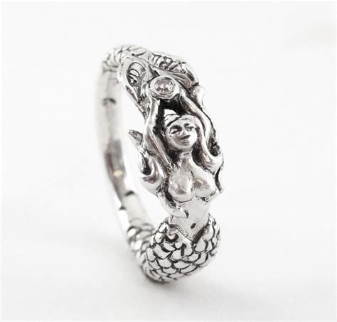 mermaid claudia handmade sterling engagement ring with a