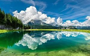 Beautiful, Hd, Wallpaper, Clouds, Sky, Mountains, Lake