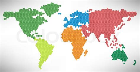 Vector Weltkarte mit farbigen Kontinenten | Vektorgrafik ...