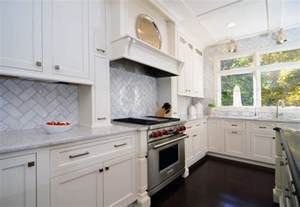 Herringbone Kitchen Backsplash Open Plan Soft White Cabinets Contrasting Floors Contemporary Kitchen Dc Metro By