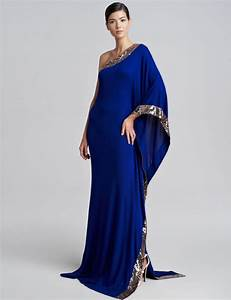 Arabian Design One Shoulder Royal Blue Evening Dress ...
