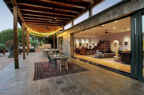eclectic patio with indoor outdoor living covered patio