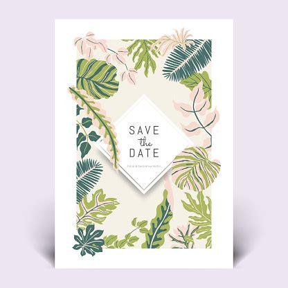 Colorful Botanical Invitation Card Template Design Hand
