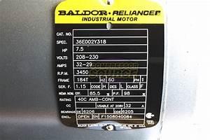 Baldor 7 5 Hp Electric Motor 3450 Rpm 184 T Frame 1 Ph