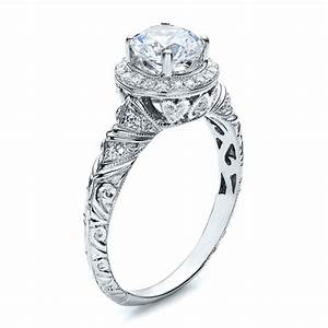 Halo hand engraved engagement ring vanna k 100103 for Hand engraved wedding rings