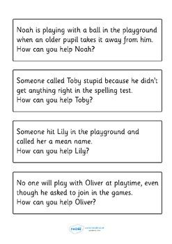 bullying scenario discussion cards  twinkl printable