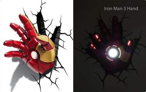 20 best collection of 3d wall art iron man night light