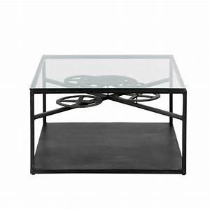 Table Basse Metal Verre : table basse indus en verre et m tal l 80 cm rouage maisons du monde ~ Mglfilm.com Idées de Décoration