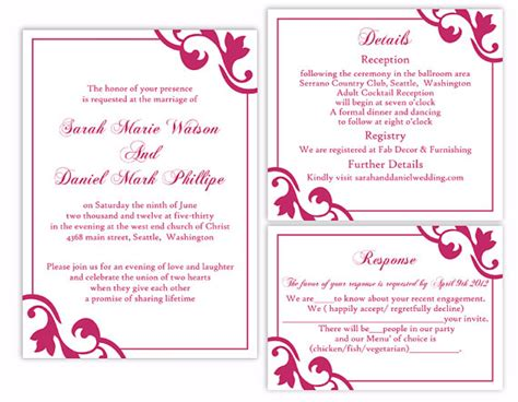 wedding invite template download diy wedding invitation template set editable word file