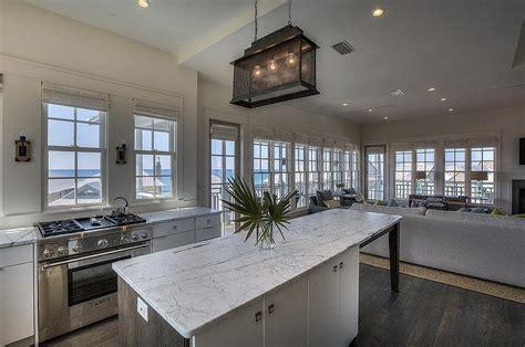 Beach Kitchen with Windows Above Stove   Cottage   Kitchen