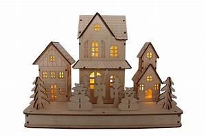 Deko Haus Holz : deko haus inkl led beleuchtung aus holz l 29cm h 21cm ~ Frokenaadalensverden.com Haus und Dekorationen
