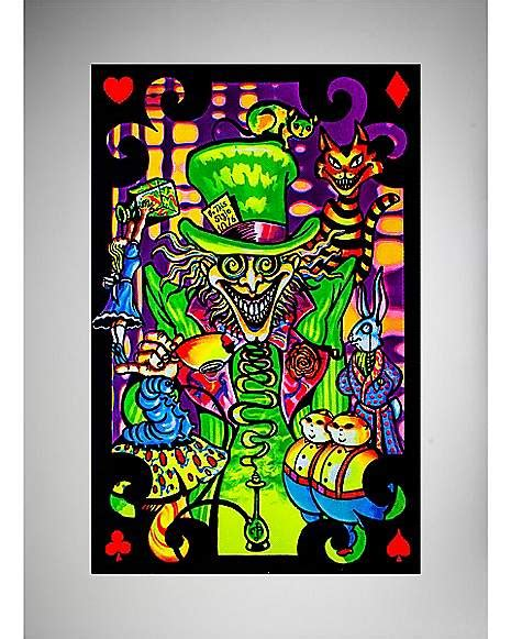 spencers black light posters mad hatter collage blacklight poster spencer s