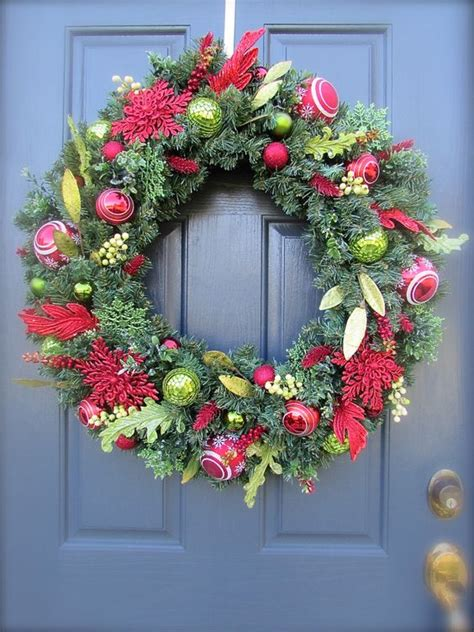 red green christmas wreath holiday door decor large