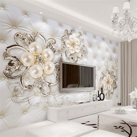 custom  wallpaper  walls crystal pearl flowers