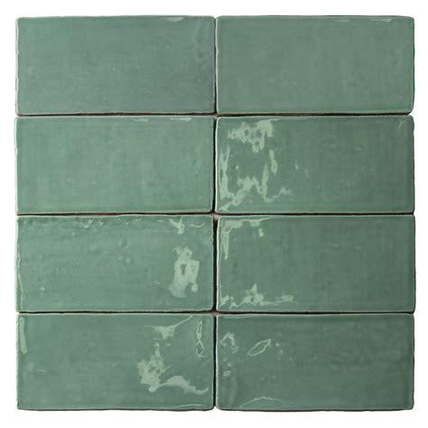 splashback tile catalina green lake 3 in x 6 in x 8 mm