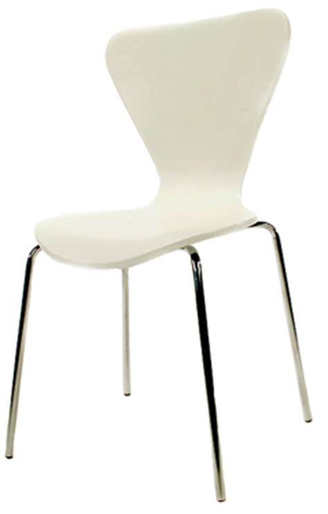 retro bent plywood dining chair white