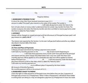 mortgage note templates 6 free word format