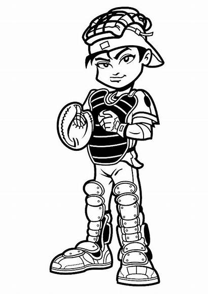 Baseball Player Coloring Catcher Pages Mlb Cartoon