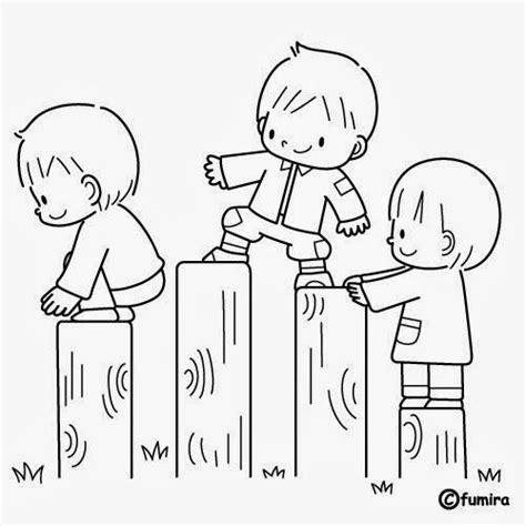 Imágenes de Niños en fila para colorear e Imprimir Para