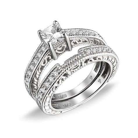 075ct (5mm) Cz Sterling Silver Wedding Engagement Ring Set