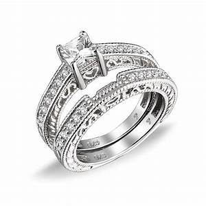 075ct 5mm cz sterling silver wedding engagement ring set for Sterling silver cz wedding ring sets