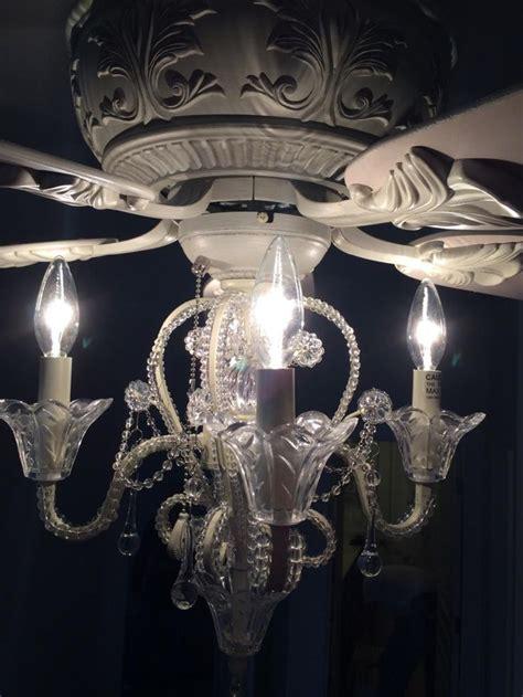 shabby chic ceiling fan light kit amazon com crystal bead candelabra antique white ceiling fan light kit home improvement