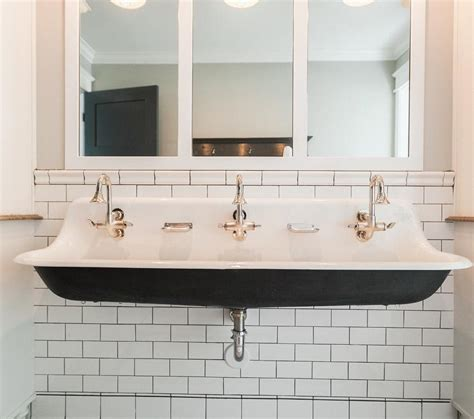 Kohler Faucet Trough Sink by White And Black Bathroom With Black Trough Sink