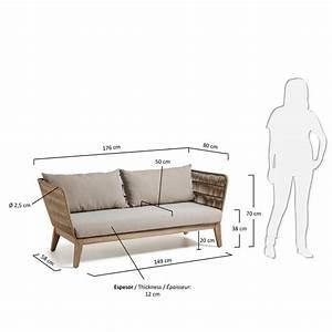 canape de jardin 3 places en bois et corde belleny by With tapis kilim avec canapé 2 places jardin