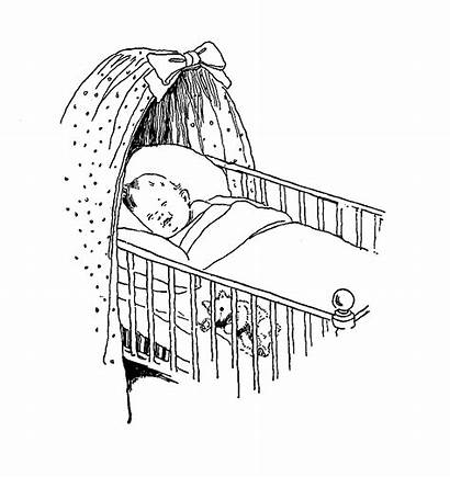 Crib Sleeping Drawing Sketch Digital Cot Stamp