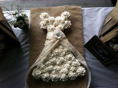 Cupcake Wedding Dress Cake Bridal Shower Burlap And Lace