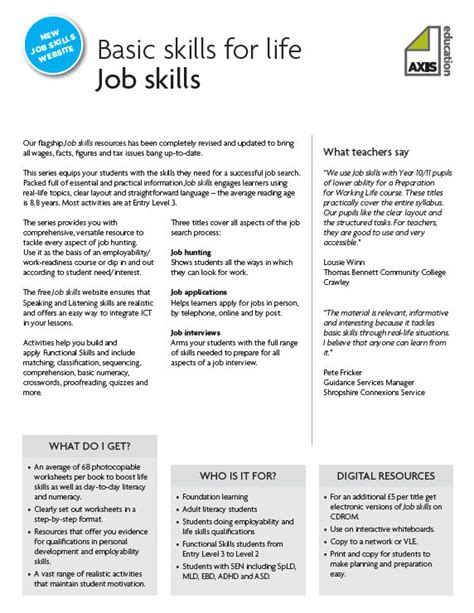 A Selection Of 5 Worksheets From Axis Education's Job Skills Series The Job Skills Series