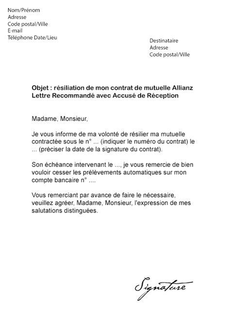 mutuelle generale adresse siege social lettre de résiliation mutuelle allianz modèle de lettre