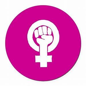 Pink feminist symbol Round Car Magnet by PurplePlanet