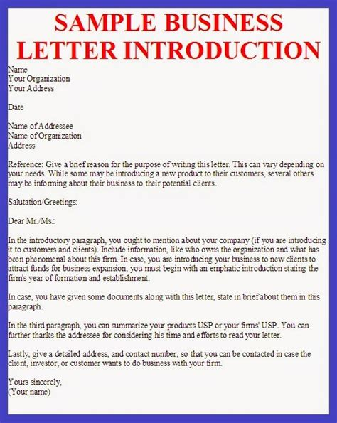 sample introduction letter   business sample