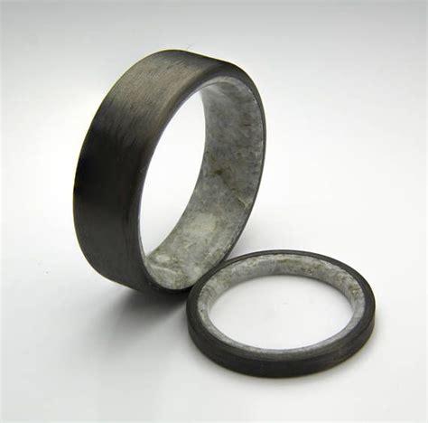 carbon fiber  real natural marble wedding band set