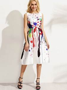 White Paint Splatter Print Fit and Flare Dress | victoriaswing
