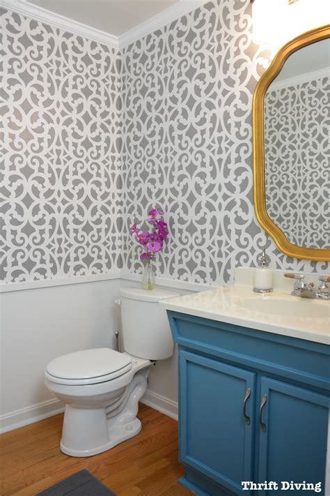 colorful gray bathroom makeover   wall stencil