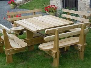 Table Jardin En Bois : table de jardin en bois avec banc integre plan pour fabriquer un banc de jardin ~ Dode.kayakingforconservation.com Idées de Décoration