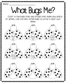 what bugs me anger management worksheet by 651 | original 2203328 2