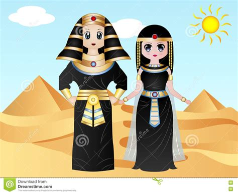 Egyptian Pharaoh Costumes Stock Illustration. Image Of