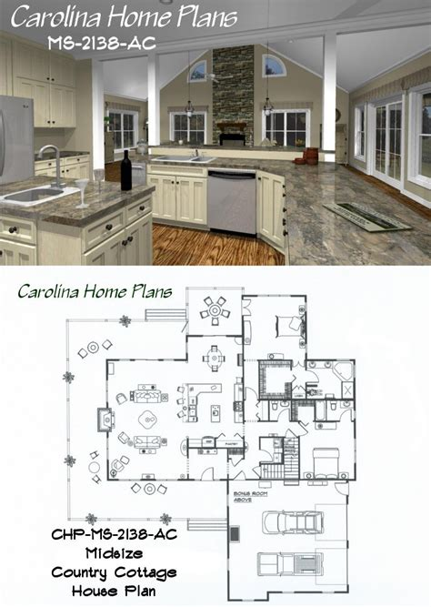 open layout house plans midsize country cottage house plan with open floor plan