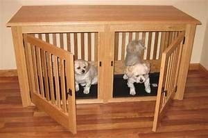 Double small oak pet crate bake a bone pinterest for Double wood dog crate